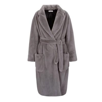 Fake Fur Mantel in Grau