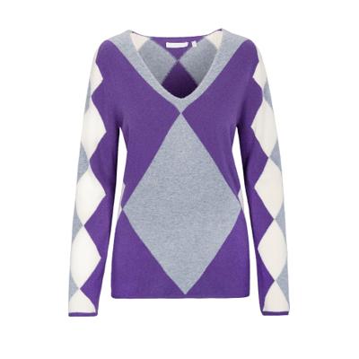 V-Pullover mit Argyle-Muster