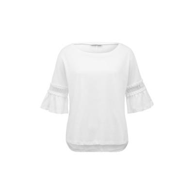 Weißes T-Shirt mit Trompetenärmeln